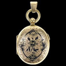 14K Ornate 1940's Black Enamel Picture Locket Pendant Yellow Gold [CQXQ]