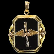 10K Propeller Wings Insignia WWII Sweetheart Charm/Pendant Yellow Gold [CQXQ]