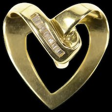 14K Wavy Curvy Baguette Diamond Heart Love Pendant Yellow Gold [CQXQ]