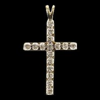 10K Christian Faith Diamond Classic Cross Pendant Yellow Gold [CXQX]