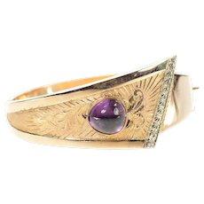 "14K 1930's Etched Ornate Amethyst Bangle Bracelet 7"" Yellow Gold [CXQQ]"