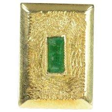 18K Columbian Emerald Textured Square Lapel Pin/Brooch Yellow Gold [CXQX]
