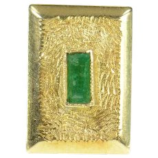 18K Columbian Emerald Textured Square Lapel Pin/Brooch Yellow Gold [CXQQ]