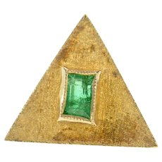 18K Columbian Emerald Triangle Textured Lapel Pin/Brooch Yellow Gold [CXQQ]