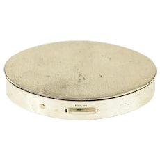 Sterling Silver Oval Simple Retro Makeup Compact Box   [CQXQ]