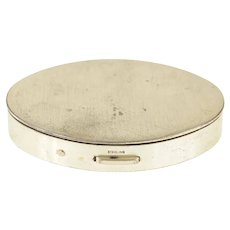 Sterling Silver Oval Simple Retro Makeup Compact Box   [CXQX]