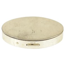 Sterling Silver Oval Simple Retro Makeup Compact Box   [CXQQ]
