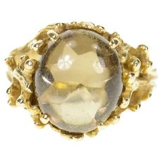 14K Smoky Quartz Tree Motif Cabochon Statement Ring Size 5.5 Yellow Gold [CXQQ]