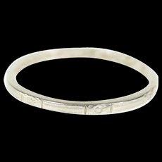 Platinum 1.7mm Art Deco Flower Wedding Band Ring Size 7  [CQXQ]