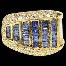 18K 1.46 Ctw Graduated Princess Sapphire Diamond Ring Size 6.75 Yellow Gold [CQXQ]