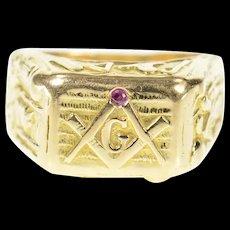 14K 1940's Ruby Men's Masonic Emblem Squared Ring Size 8.5 Yellow Gold [CQXQ]