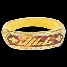 23K Ornate Victorian Red Enamel Jill Name Band Ring Size 7.25 Yellow Gold [CQXQ]