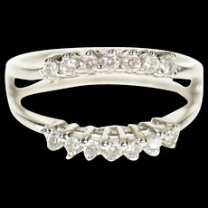10K Curved Contour CZ Wedding Band Wrap Ring Size 6.75 White Gold [CQXQ]