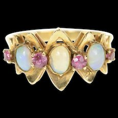 14K Victorian Natural Opal Ruby Statement Ring Size 9.25 Yellow Gold [CQXQ]