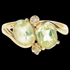 14K Oval Prasiolite Diamond Accent Bypass Ring Size 7.25 Yellow Gold [CQXQ]