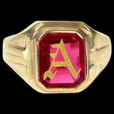 10K A Etched Engraved Monogram Initial Syn. Ruby Ring Size 11.75 Yellow Gold [CQXQ]