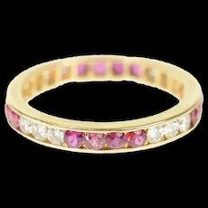 14K 0.66 Ctw Ruby Diamond Eternity Wedding Band Ring Size 5.5 Yellow Gold [CQXQ]