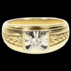 14K 0.15 Ct Men's Art Deco Diamond Wedding Ring Size 9.25 Yellow Gold [CQXQ]