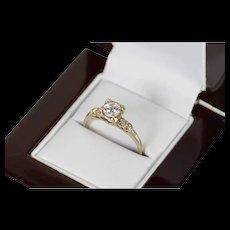 14K 1940's 0.61 Ctw Diamond Classic Engagement Ring Size 8 White Gold [CQXQ]