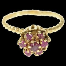 14K 1960's Ornate Ruby Flower Cluster Cocktail Ring Size 5.75 Yellow Gold [CQXQ]