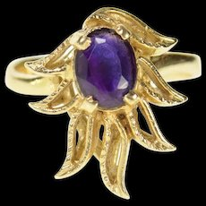 14K 1960's Ornate Natural Amethyst Floral Flame Ring Size 6 Yellow Gold [CQXQ]