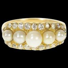 14K 0.46 Ctw Art Deco Pearl Diamond Halo Ring Size 7.25 Yellow Gold [CQXQ]