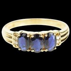 14K Three Stone Sapphire Diamond Statement Ring Size 8.25 Yellow Gold [CQXQ]