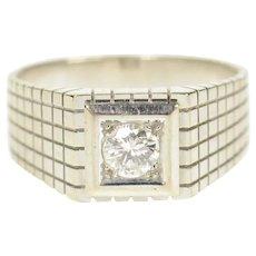 18K 0.36 Ct Men's Diamond Squared Wedding Band Ring Size 8.75 White Gold [CQXQ]