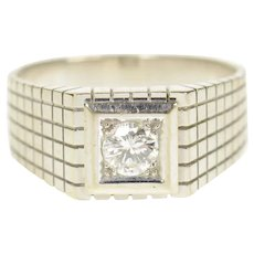 18K 0.36 Ct Men's Diamond Squared Wedding Band Ring Size 8.75 White Gold [CXQQ]