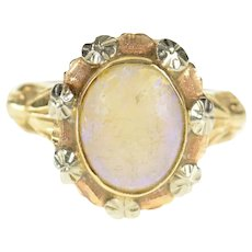 14K Victorian Natural Opal Two Tone Ornate Ring Size 5.75 Yellow Gold [CXQX]