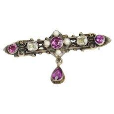 Sterling Silver Ornate Victorian Syn. Ruby Rhinestone Bar Pin/Brooch  [CXQQ]