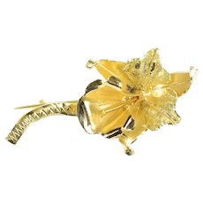 18K Retro Ornate Orchid Flower 3D Statement Pin/Brooch Yellow Gold [CXQQ]