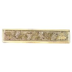 14K Etched Leaf Pattern Victorian Bar Pin/Brooch Yellow Gold [CXQQ]
