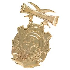 10K College Dept. Religious Knowledge Medal 1st Pin/Brooch Yellow Gold [CXQQ]
