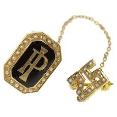 14K PI Black Enamel Seed Pearl 25 Years Lapel Pin/Brooch Yellow Gold [CXQQ]