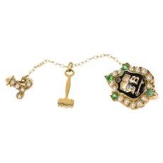 10K Sigma Beta Ornate Seed Pearl Sim. Emerald Pin/Brooch Yellow Gold [CXQQ]
