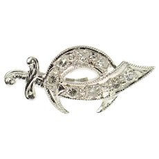 14K Diamond Shriners Scimitar Sword Symbol Lapel Pin/Brooch White Gold [CXQQ]