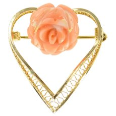 Gold Filled Retro Carved Coral Flower Rose Filigree Heart Pin/Brooch  [CXQQ]