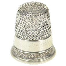 Sterling Silver Victorian Ornate Sewing Tool Floral Thimble   [CXQX]