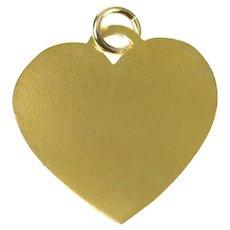 10K Simple Classic Heart Engravable Love Symbol Charm/Pendant Yellow Gold [CXQC]