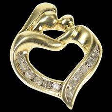 10K Diamond Classic Mother Child Heart Mother's Day Pendant Yellow Gold [CQXQ]
