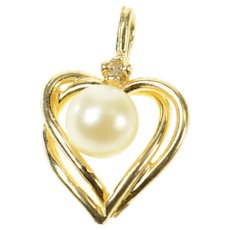14K Pearl Diamond Accent Classic Heart Love Pendant Yellow Gold [CXQC]