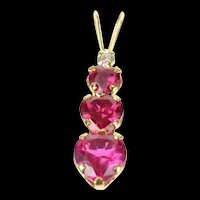 10K Tiered Syn. Ruby Heart CZ Journey Symbol Pendant Yellow Gold [CQXQ]