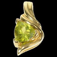 14K Trillion Peridot Solitaire Simple Pendant Yellow Gold [CQXQ]