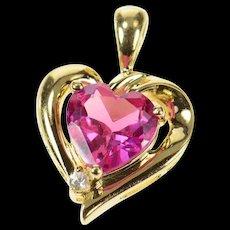 10K Heart Syn. Ruby CZ Accent Love Symbol Pendant Yellow Gold [CQXQ]