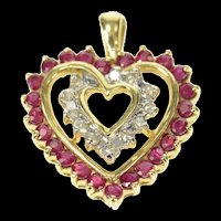 10K Ruby Diamond Halo Heart Love Symbol Pendant Yellow Gold [CQXQ]
