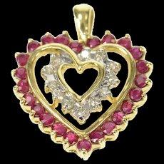 10K Ruby Diamond Halo Heart Love Symbol Pendant Yellow Gold [CQXQ]