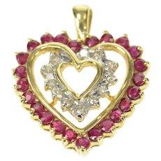 10K Ruby Diamond Halo Heart Love Symbol Pendant Yellow Gold [CXQX]
