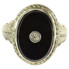 18K Art Deco Black Onyx Diamond Etched Statement Ring Size 4.5 White Gold [CXQC]