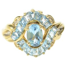 10K Oval Blue Topaz Baguette Swirl Halo Diamond Ring Size 7 Yellow Gold [CXQC]